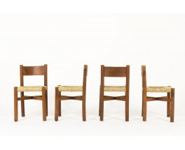 Chaises Charlotte Perriand modele Meribel en frene premiere edition Steph Simon 1950 set de 4