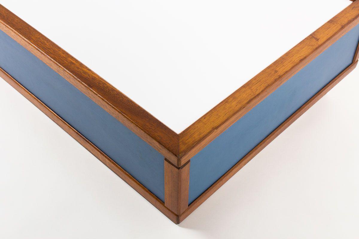 Table basse Andre Sornay acajou stratifie bleu et blanc 1960
