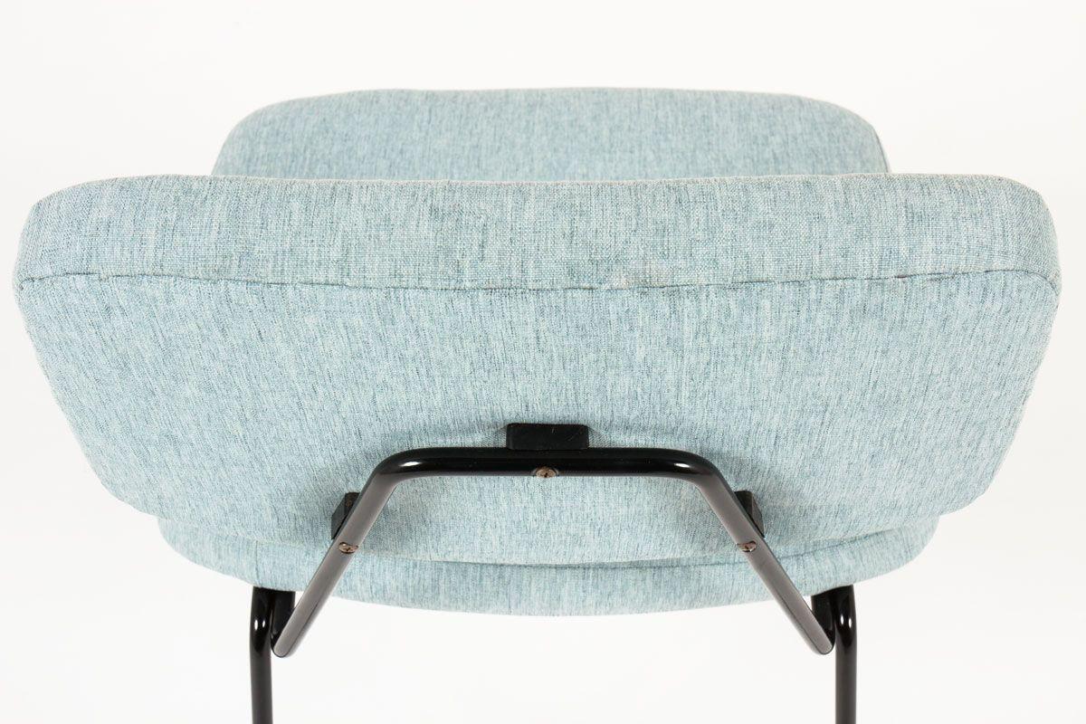 Chaises Pierre Paulin modele CM196 tissu bleu pastel edition Thonet 1950 set de 6
