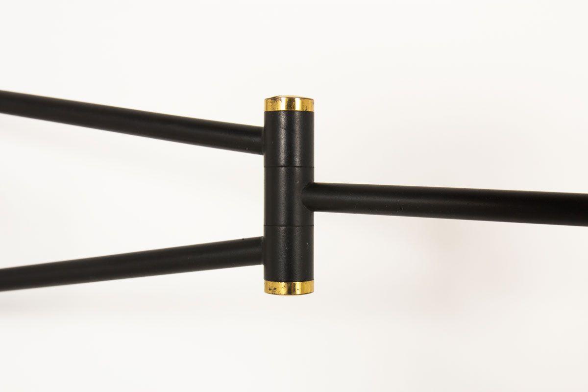 Applique metal noir laiton abat-jour diabolo beige 1950