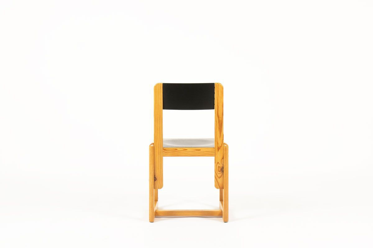 Awe Inspiring Andre Sornay Chairs In Pine With Black Seat 1960 Set Of 6 Inzonedesignstudio Interior Chair Design Inzonedesignstudiocom