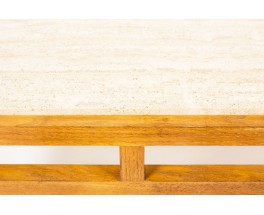 Table basse en chene et plateau travertin beige 1950
