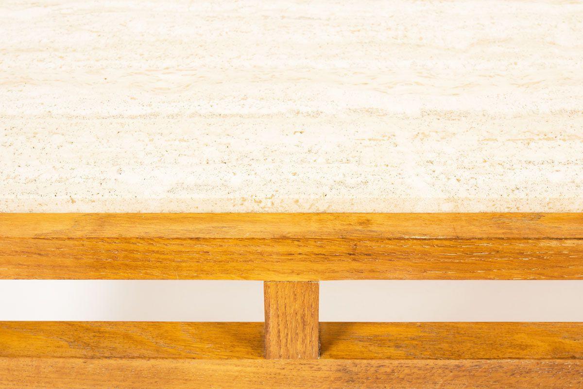 Table basse en chene et plateau travertin beige 1950
