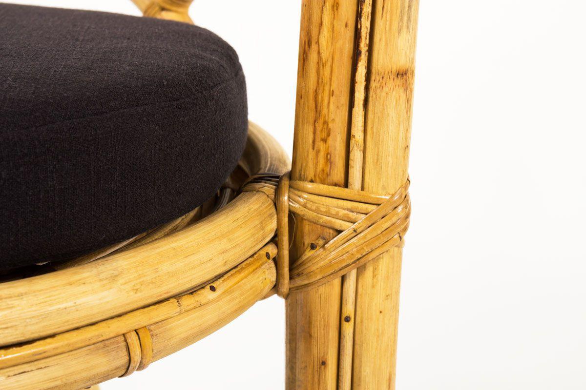 Fauteuils en rotin et coussin lin noir 1950 set de 2