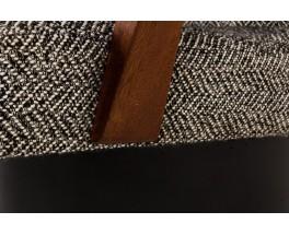 Fauteuil tissu noir et blanc accoudoirs en acajou 1950