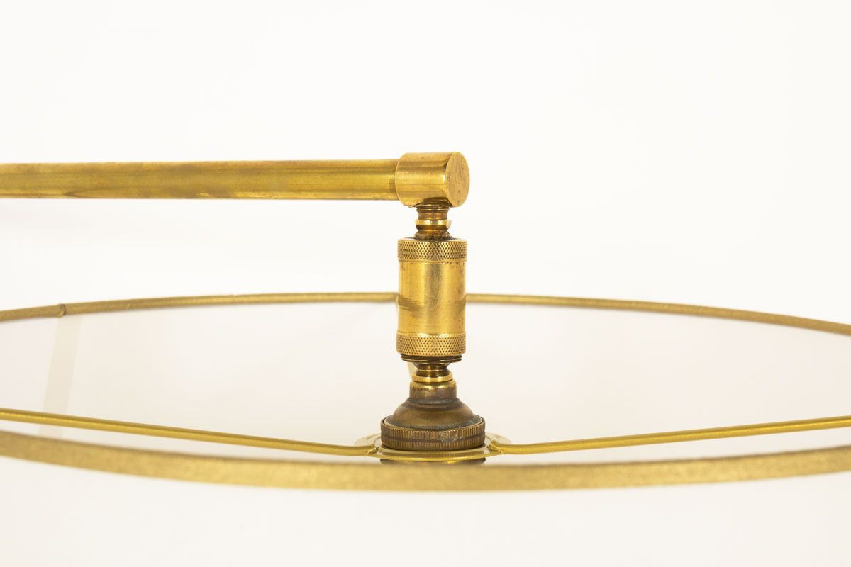 Applique en laiton et abat-jour circulaire beige 1950