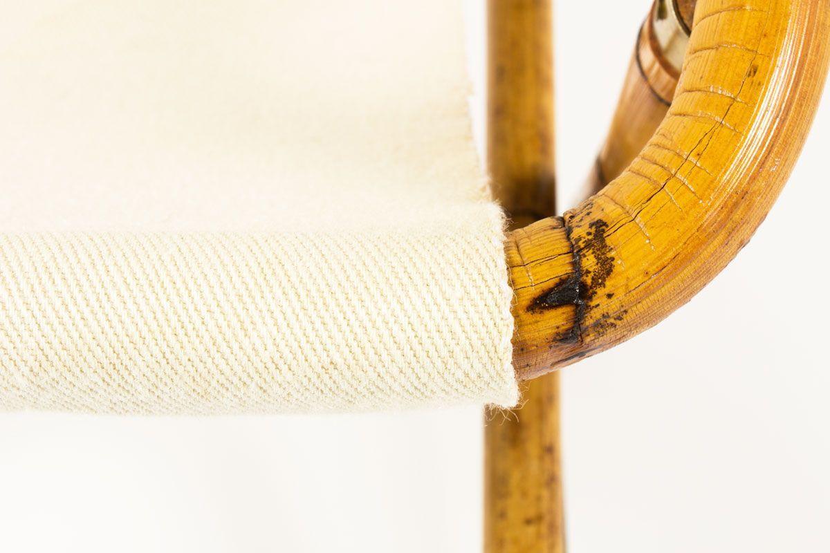Chaise de repos en bambou metal dore et assise beige 1950