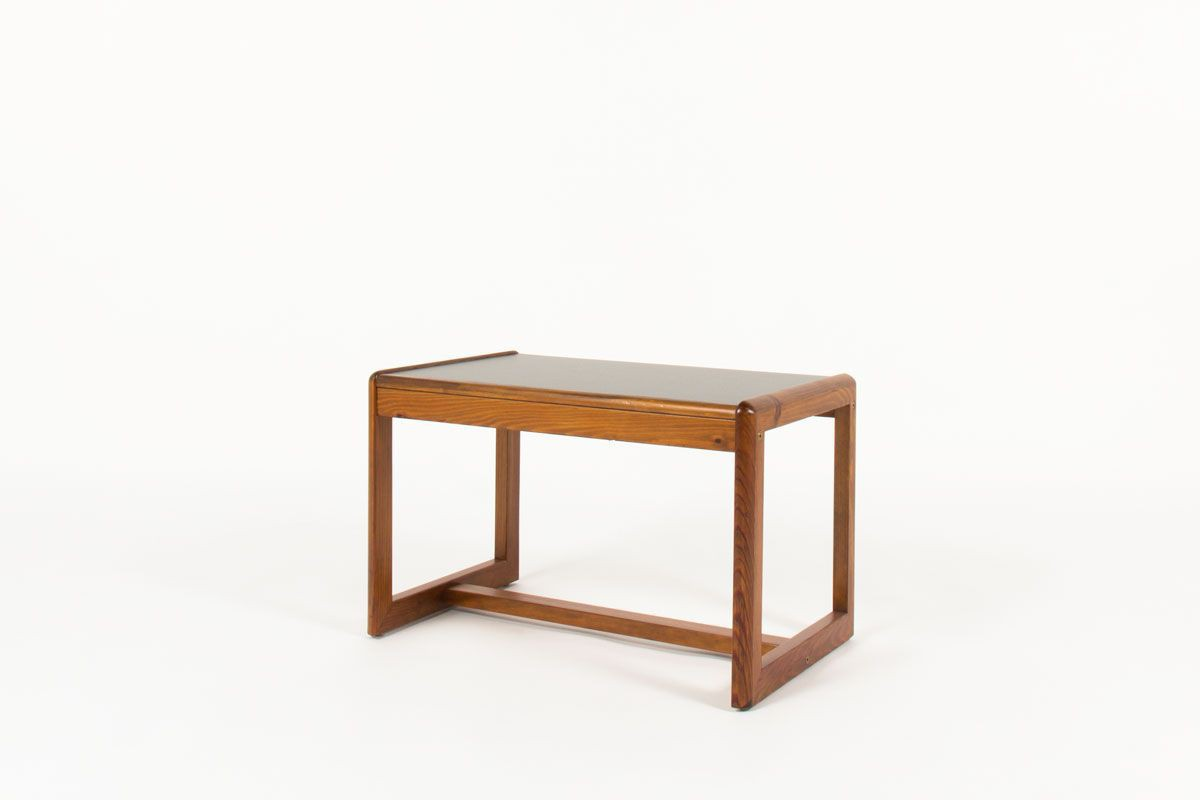 Table basse Andre Sornay rectangulaire pin teinte et stratifie noir 1960