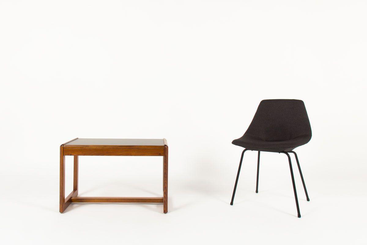 Table basse Andre Sornay rectangulaire pin teinte et stratifie noir 1960