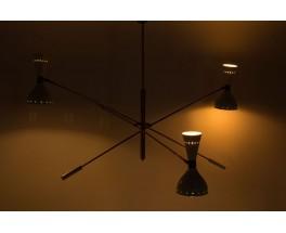 Lustre en laiton 3 feux diffuseurs blancs design contemporain italien