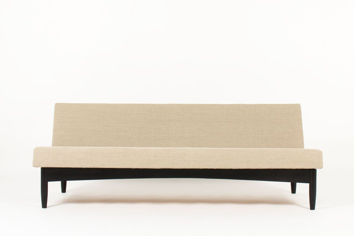 Banquette convertible Olli Borg tissu lin gris design scandinave edition Asko 1950