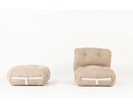 Chauffeuse et repose pieds velours beige et chrome design italien 1970