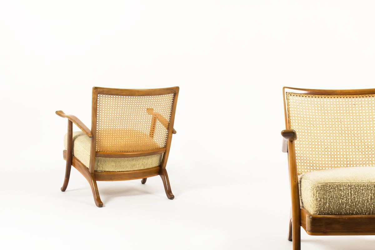 Fauteuils noyer sycomore et cannage design italien 1950 set de 2