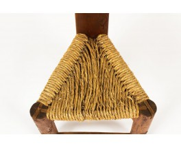 Chaise petit modele en pin et assise en paille design africain 1950