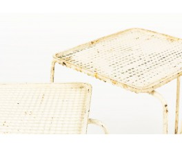 Tables basses Mathieu Mategot modele Soumba blanc 1950 set de 3