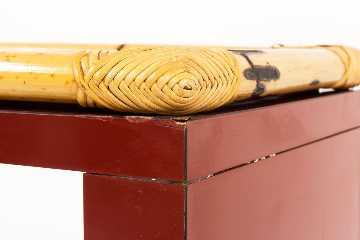 Console stratifie bordeaux et bambou 1950