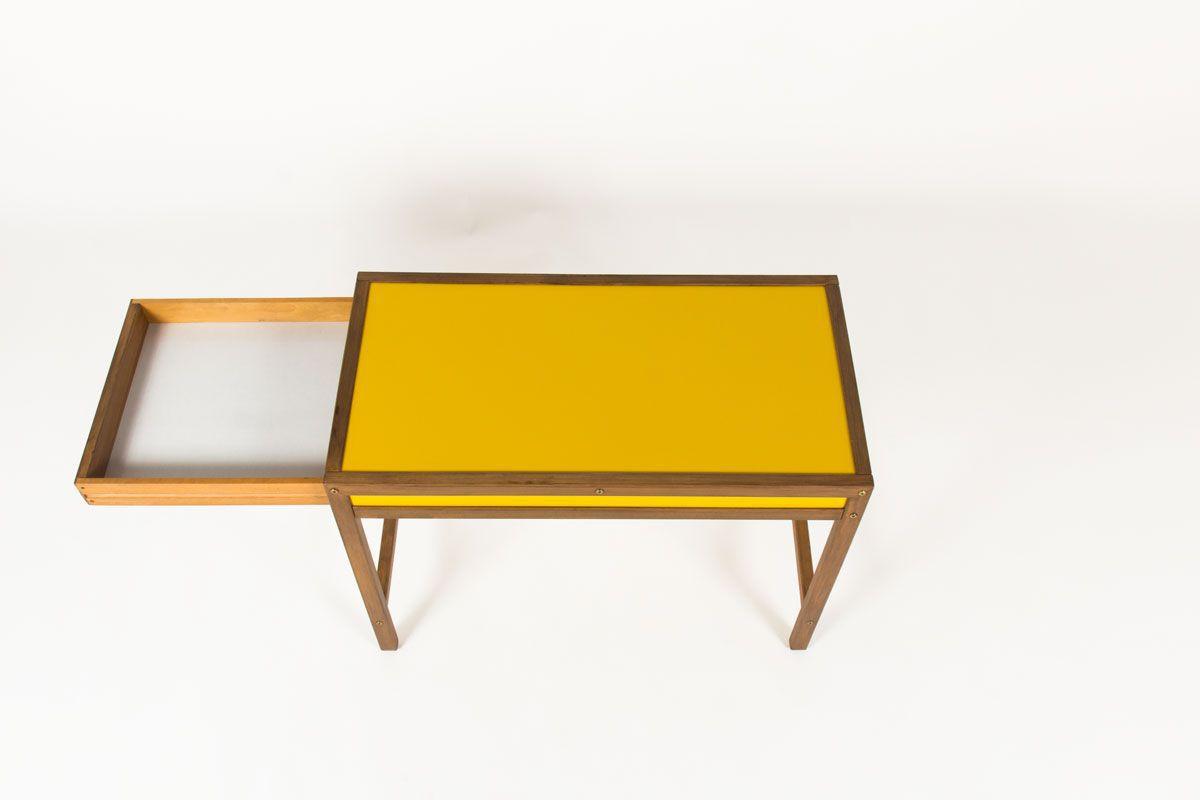 Console Andre Sornay en hetre teinte et laque jaune 1960