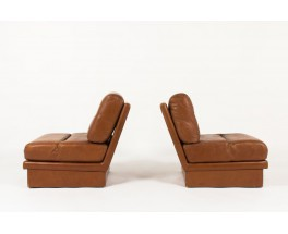Chauffeuses Jacques Charpentier en cuir marron 1970 set de 2