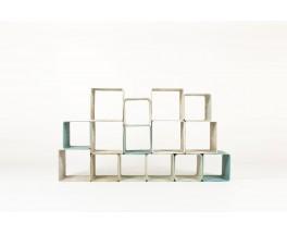 Willy Guhl bookcase 15 elements edition Eternit 1970