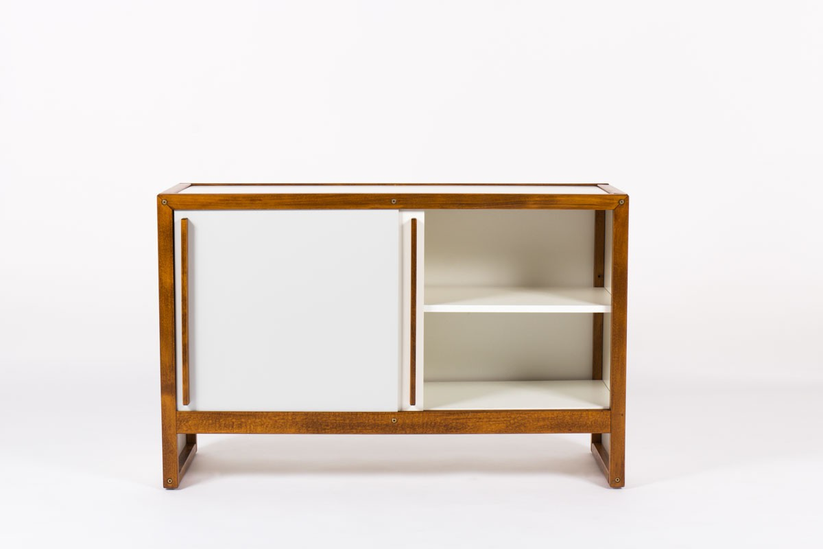 Andre Sornay cabinet with white and grey lacquer 1960
