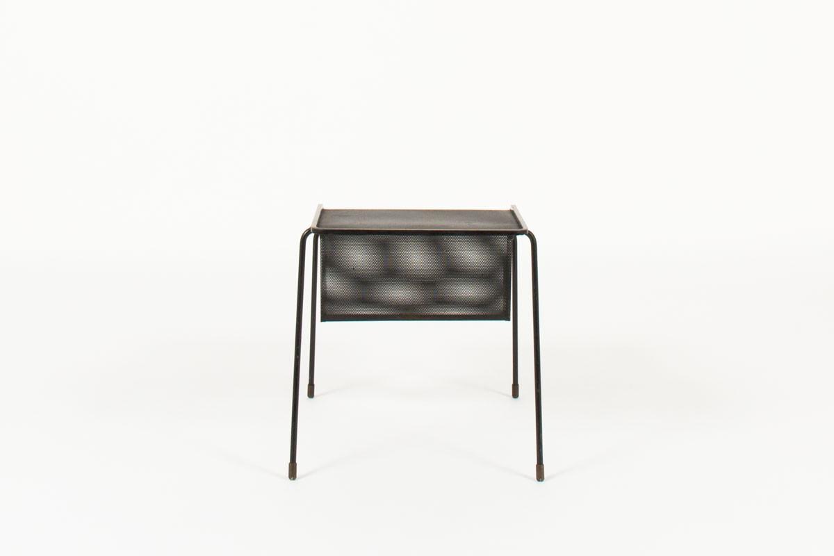 Mathieu Mategot magazine rack model Java black perforated steel top 1950