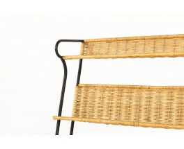Raoul Guys bookcase in black metal and rattan 1950