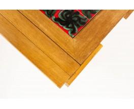 Guillerme and Chambron coffee table in oak Boleslaw Danikowski ceramic edition Votre Maison 1950