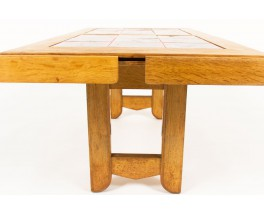 Guillerme and Chambron coffee table in oak Boleslaw Danikowski ceramic edition Votre Maison 1950