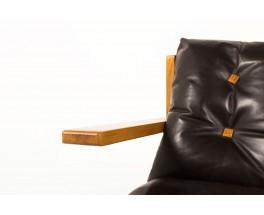 Fauteuils en frêne et cuir marron grand modèle 1970 set de 2