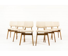 Alain Richard chairs in solid ash and fabric 1950 set of 6