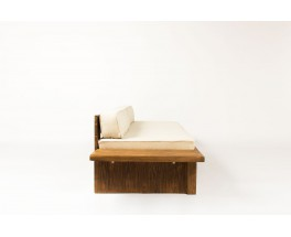 Charlotte Perriand daybed in pine and beige fabric Les Arcs 1960
