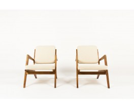 Armchairs in solid ash with beige cotton fabric 1950 set of 2