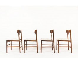 Gianfranco Frattini chairs in rosewood and linen 1960 set of 4