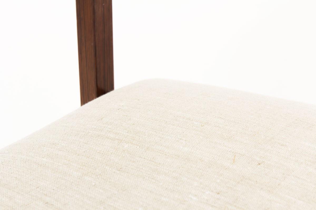 Chaises Gianfranco Frattini en palissandre de Rio et tissu lin 1960 set de 4