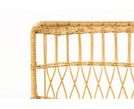 Raoul Guys armchairs in black metal and rattan edition Airborne 1950 set of 2