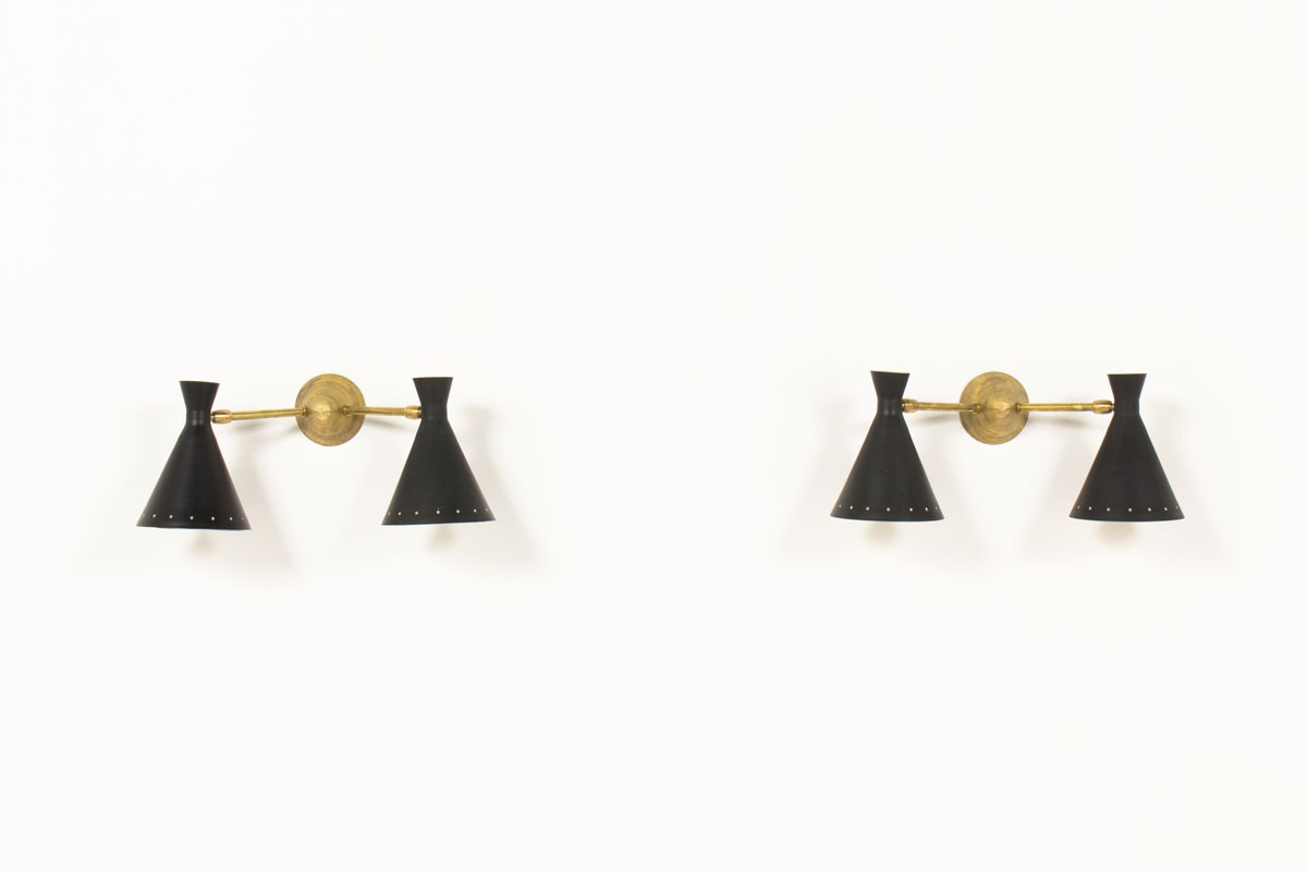 Wall lights in brass with double black diabolo diffusers Italian comtemprary design set of 2
