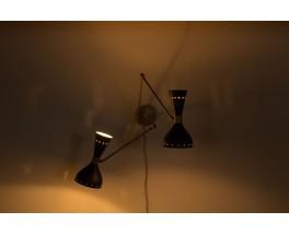 Applique en laiton double bras diffuseurs diabolo noir design contemporain Italien