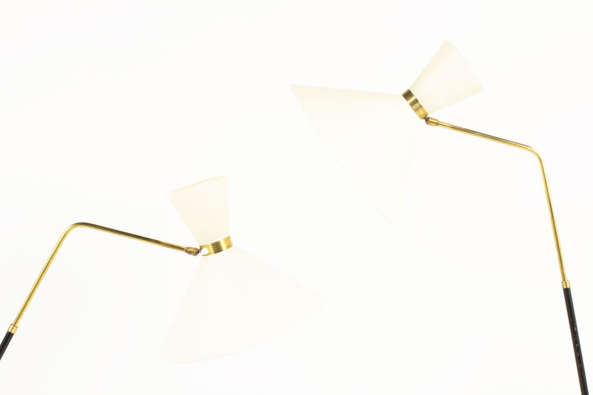 Lampadaires métal noir laiton et abat-jour papier édition monix 1950 set de 2