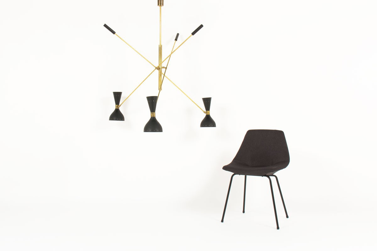 Chandelier in brass 3 lights black diffusers Italian contemporary design