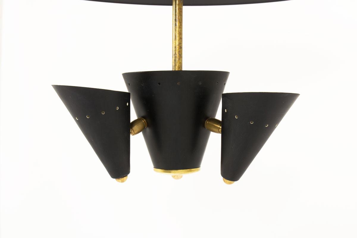 Ceiling lamp brass and black metal contemporary design Italia