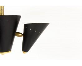 Plafonnier en laiton et métal noir design contemporain Italien