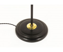 Floor lamp in black metal and brass with paper lamphade 1950