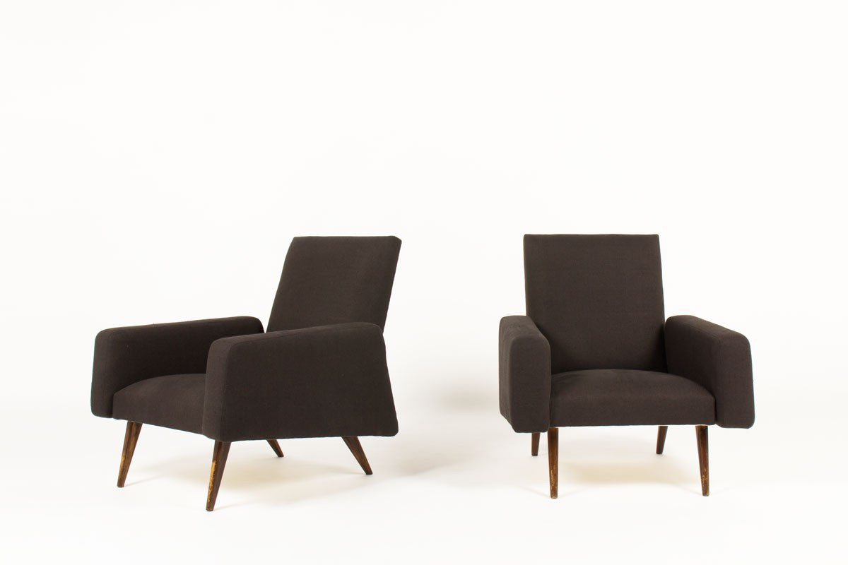 Armchairs in brown linen and tinted ash 1950 set of 2