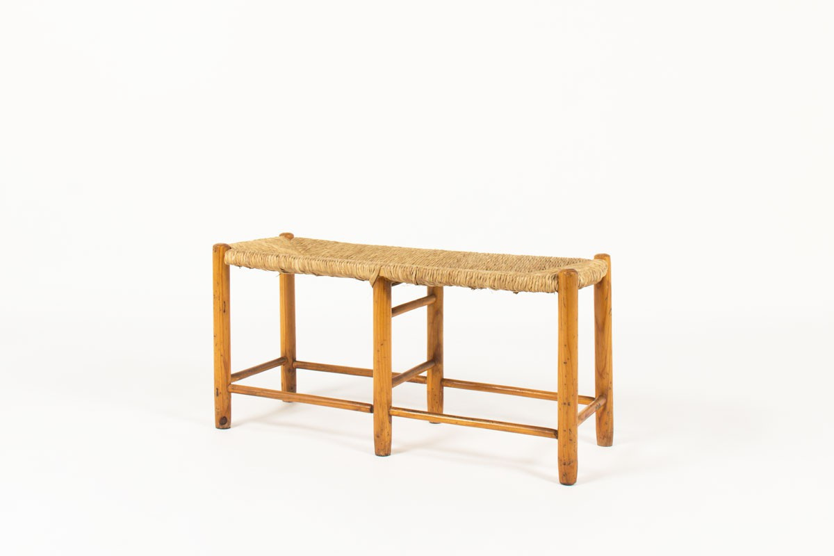 2 seat bench solid pine and natural straw 1950