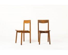 Chaises Pierre Gautier Delaye en pin modèle Grain de Café 1960 set de 6