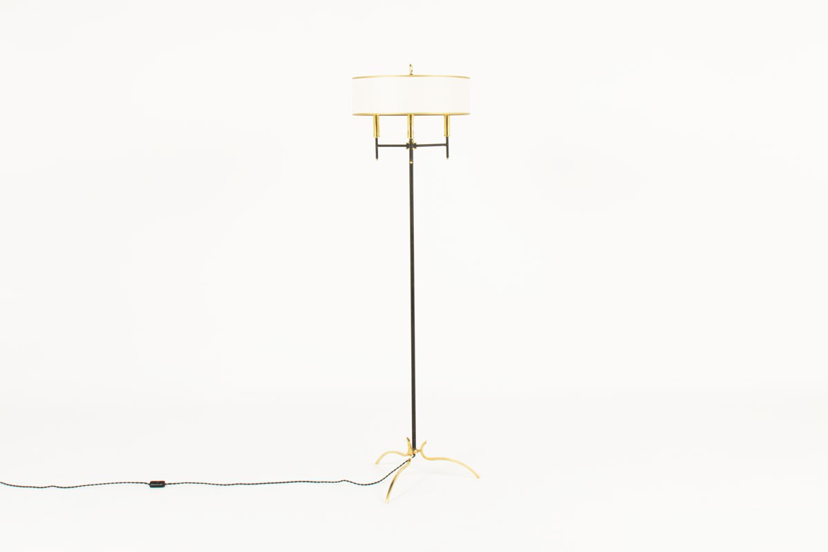 French tripod floor lamp brass and black metal paper lampshade 1950