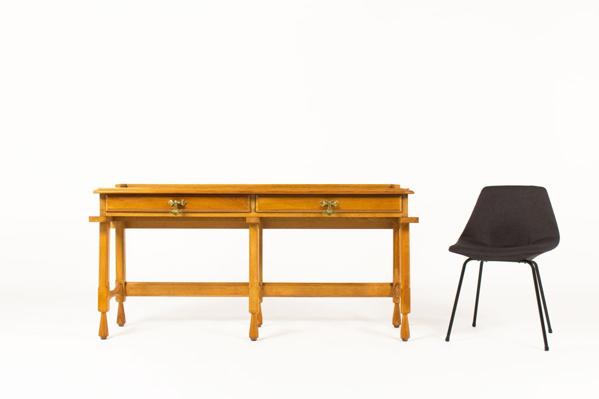 Console Guillerme et Chambron en chêne et laiton édition Votre Maison 1950
