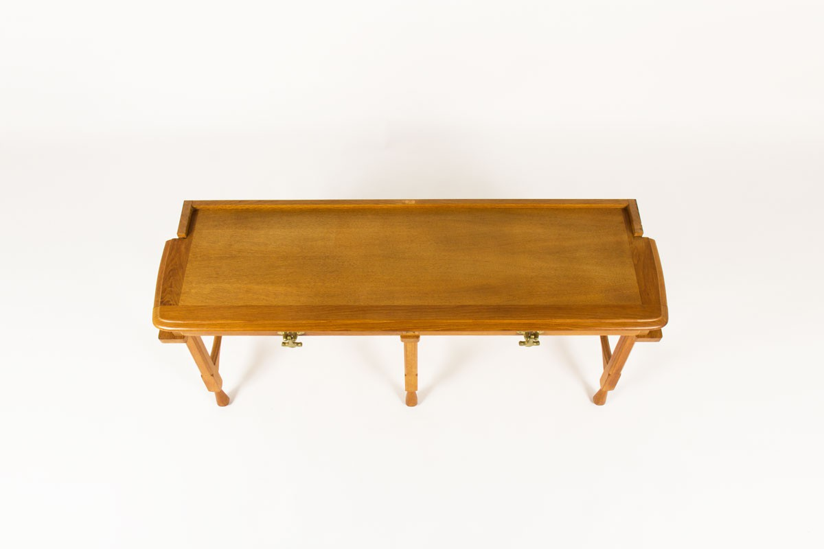 Guillerme et chambron console table solid oak end brass produced by Votre Maison