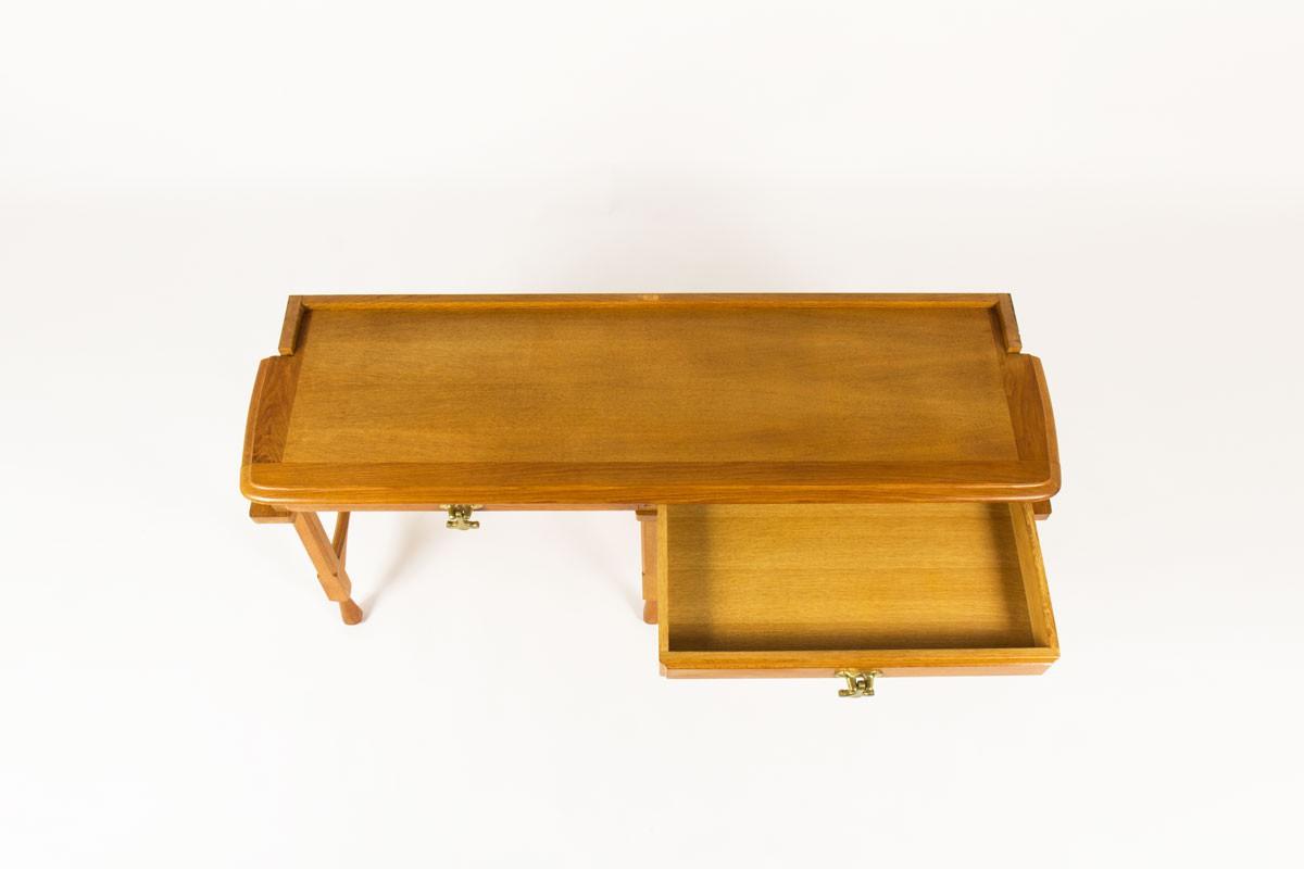 Guillerme et chambron console table solid oak end brass produced by Votre Maison