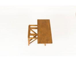 Console en chêne transformable en table design reconstruction 1950